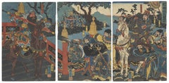 Utagawa Kuniyoshi, Warrior, Three Kingdoms, Original Japanese Woodblock Print
