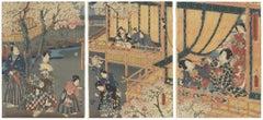 Original Japanese Woodblock Print, Toyokuni III, Tale of Genji, Kemari, Sakura
