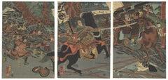 Kuniyoshi Samurai Triptych Original Japanese Woodblock Print Ukiyo-e, Horses