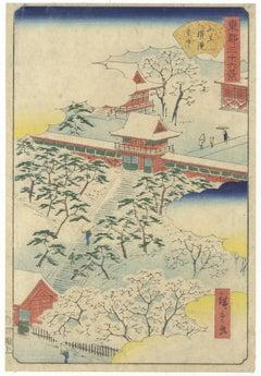 Shrine in Snow Japanese Woodblock Print Ukiyo-e, Hiroshige Utagawa, White Blue