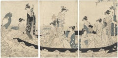 18th Century Japanese Woodblock Print, Ukiyo-e, Ladies in Boat with Phoenix Head