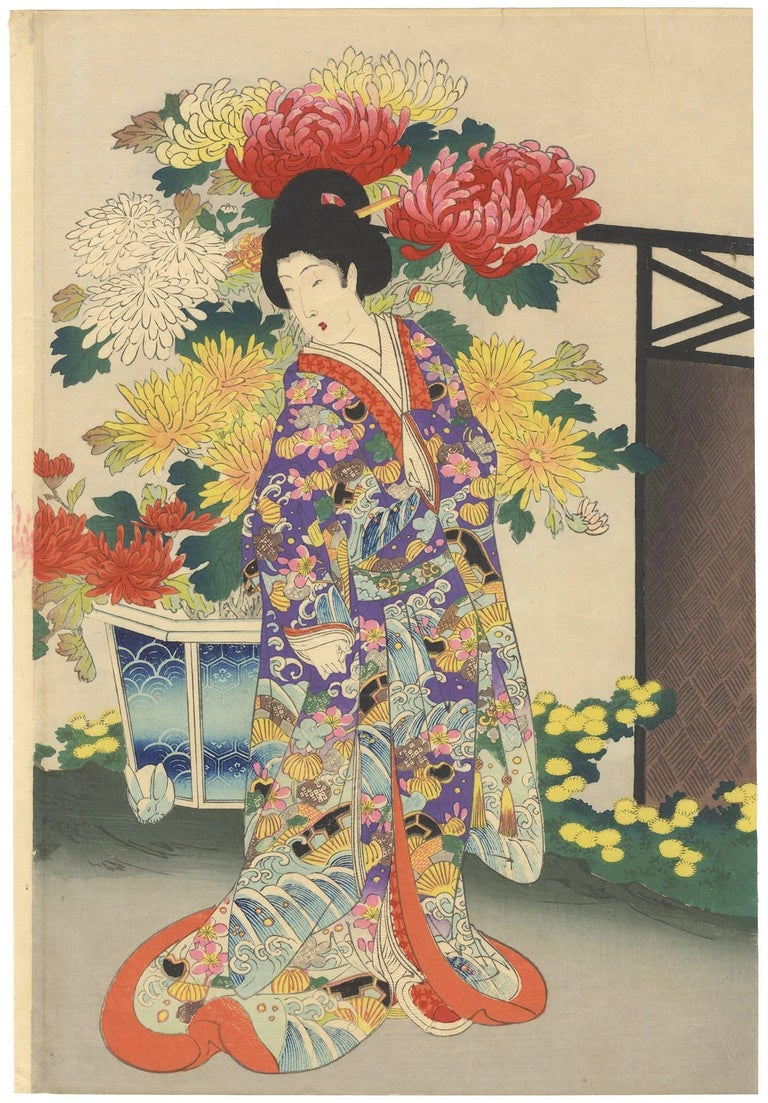 Yoshu Chikanobu Japanese Woodblock Print Tokugawa Court Vintage Story Flower Chrysantemum 2 Ladies Chrysanthemum Flowers For Sale