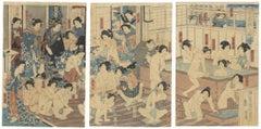 Japanese Baths Triptych, Sensual Ukiyo-e, Original Woodblock Print Nude, Culture