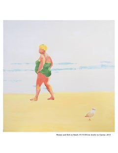 Woman and Bird on Beach