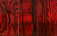 Heartbeat (Triptych) - 21st Century, Abstract Painting, Red, Beeswax, Attraction