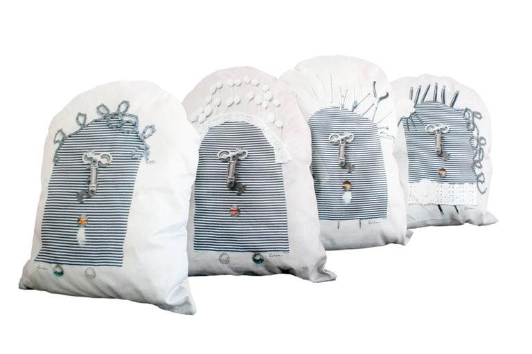 Sailor family, 2011 Textile, synthetic fiber filling 4 unique pillows  Papa sailor  13,4 H x 11,8 W x 3,1 D in 34 H x 30 W x 8 D cm Mama sailor  15 H x 11,4 W x 3,1 D in 38 H x 29 W x 8 D cm Sailor boy 13,8 H x 11,8 W x 3,9 D in 35 H x 30 W  x 10 D