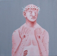 Small Christ 6 - Contemporary, Gray, Pink, Acrylic on Canvas, 21st Century