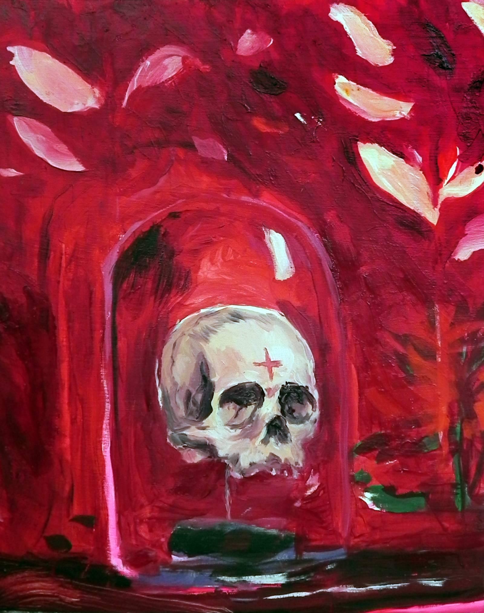 Vanitas - 21st Century, Skull, Red, Figurative Painting, Small