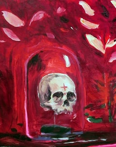 Vanitas - 21st Century, Skull, Red, Figurative Painting, Small