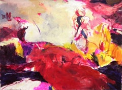 Gestural landscape I - 21st Century, Figurative Painting, Pink, Red, Woman