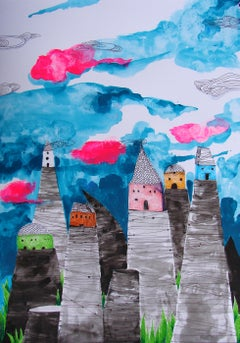 Surrealist Landscape Drawings and Watercolors