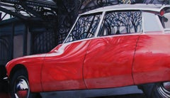 Entangled.Paris.1894 - Figurative Painting, Car, Contemporary, Oil paint, Red