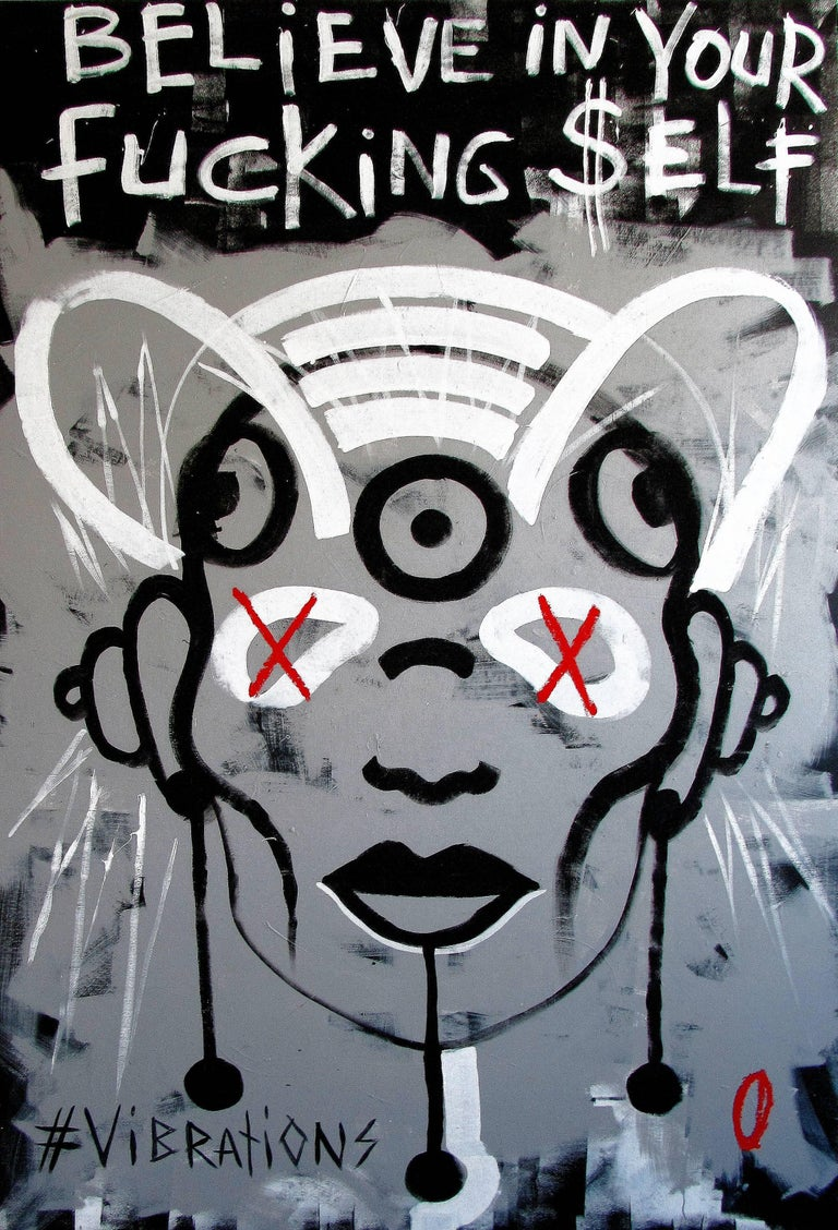 Vera Kochubey Figurative Painting - Believe in your fucking self - 21st Century, Black and White, Street Art, Life