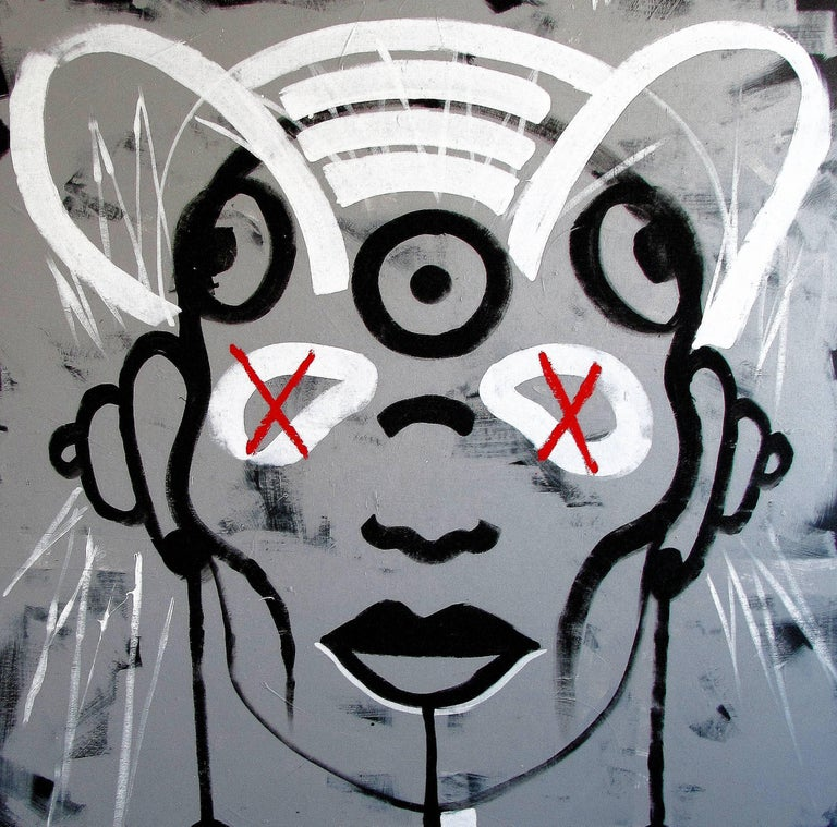 Believe in your fucking self - 21st Century, Black and White, Street Art, Life - Painting by Vera Kochubey