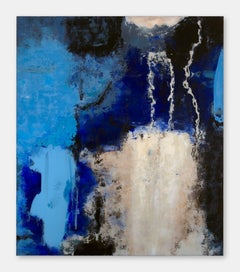 Blame it to the rain! - 21st Century, Abstract Painting, Blue, Acrylic on Glass