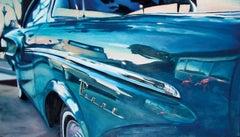 Pink.Havana.1953 - 21st Century, Oldtimer, Car, Blue, Oil Painting, Berlin