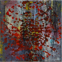 Deep dots - Abstract Painting, Red, Blue, Acrylic Paint on Glass, Contemporary