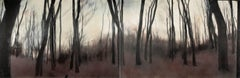 Cider forest V (diptych) - Contemporary, Landscape, Beige, Brown, Trees, Nature