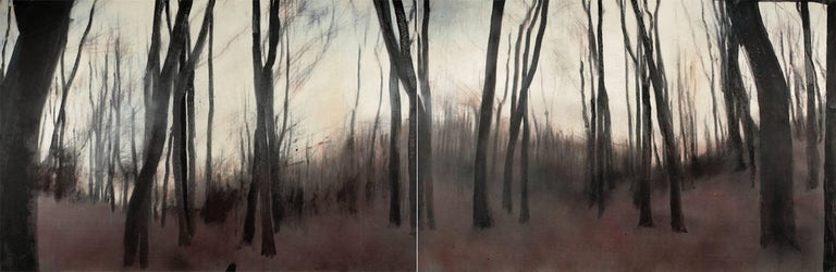 Ioan Sbârciu Landscape Painting - Cider forest V (diptych) - Contemporary, Landscape, Beige, Brown, Trees, Nature