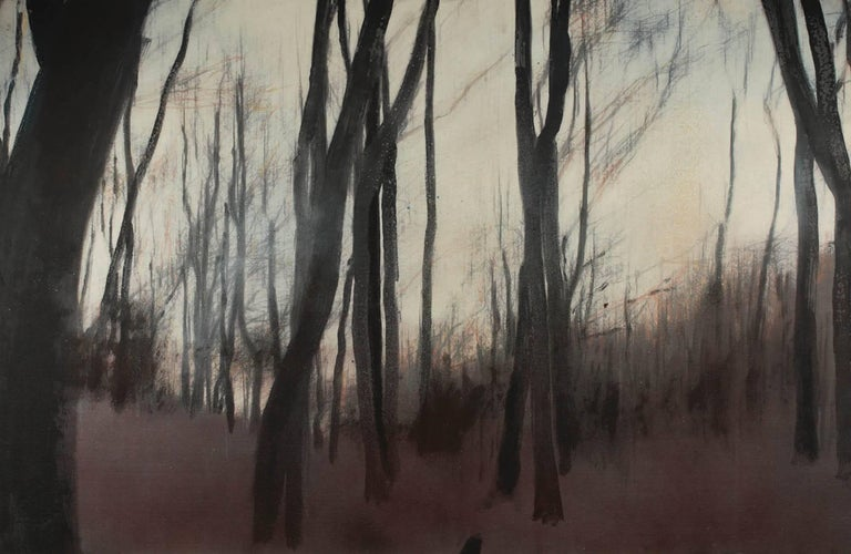 Cider forest V (diptych) - Contemporary, Landscape, Beige, Brown, Trees, Nature - Painting by Ioan Sbârciu