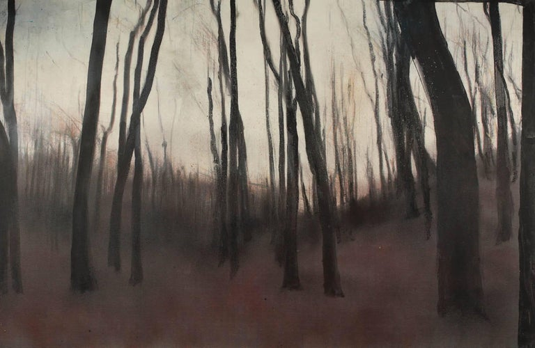 Cider forest V (diptych) - Contemporary, Landscape, Beige, Brown, Trees, Nature - Black Landscape Painting by Ioan Sbârciu