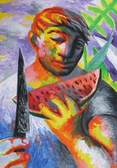 Watermelon - Figurative Painting, 21st Century, Colorful, Human, Fruit, Orange