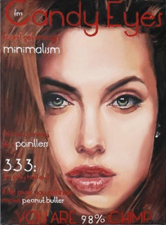 Candy Eyes issue #2 - 21st Century, Portrait, Red, Angelina Jolie, Small, Oil