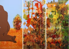 Voyeur (triptych) - Orange, Landscape, Figurative Painting, Nude, Brown, Acrylic