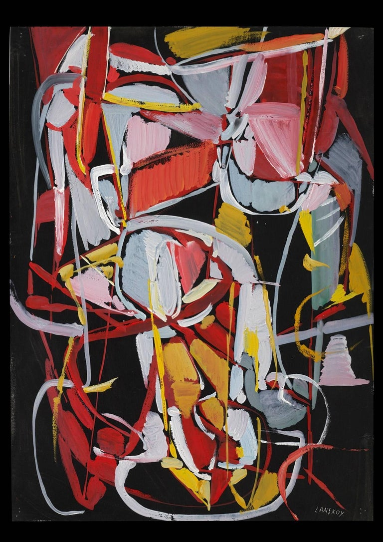 André Lanskoy Abstract Painting - Composition Rouge sur fond Noir (Red composition on Black Background)