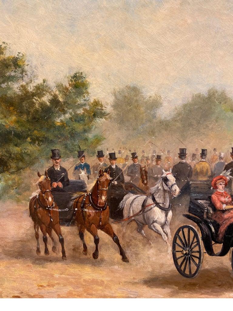 Calèches au Bois de Boulogne - Old Masters Painting by Paul Emile Léon Perboyre