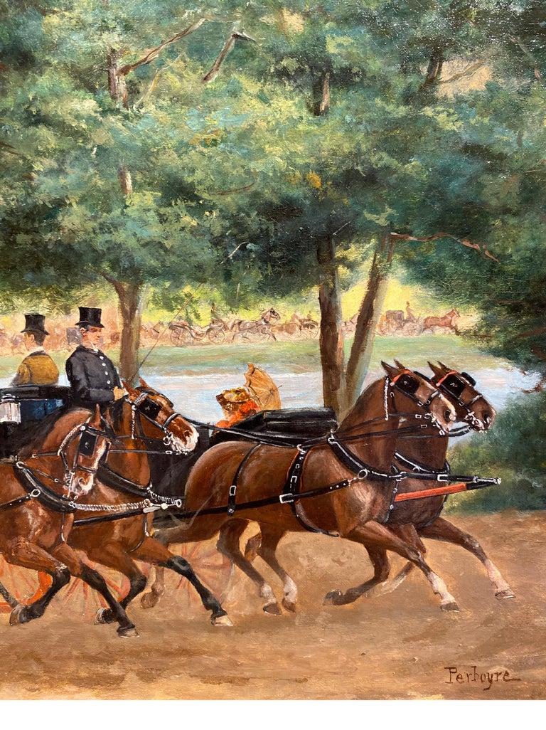 Calèches au Bois de Boulogne - Brown Figurative Painting by Paul Emile Léon Perboyre