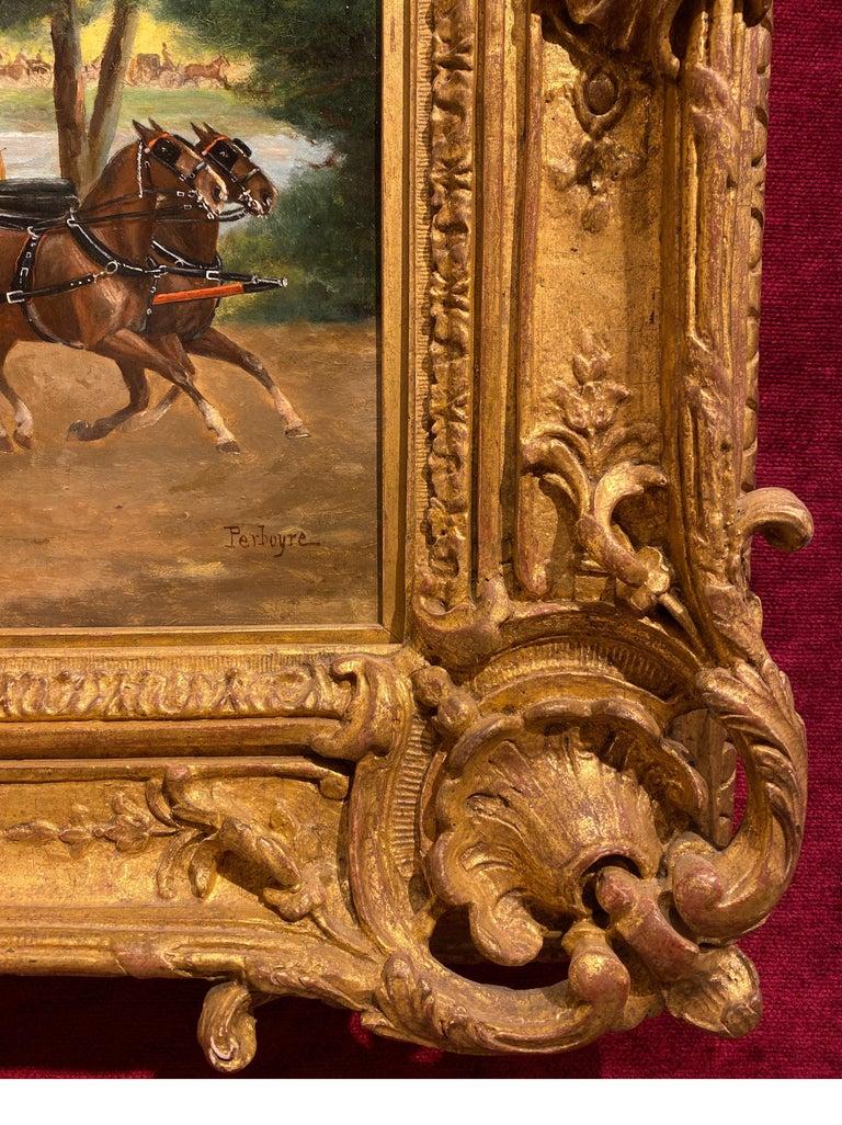 Paul Emile Perboyre  1826-1914 French  Calèche au Bois de Boulogne, Circa 1880 Oil on panel Signed lower right  Panel: 12 5/8
