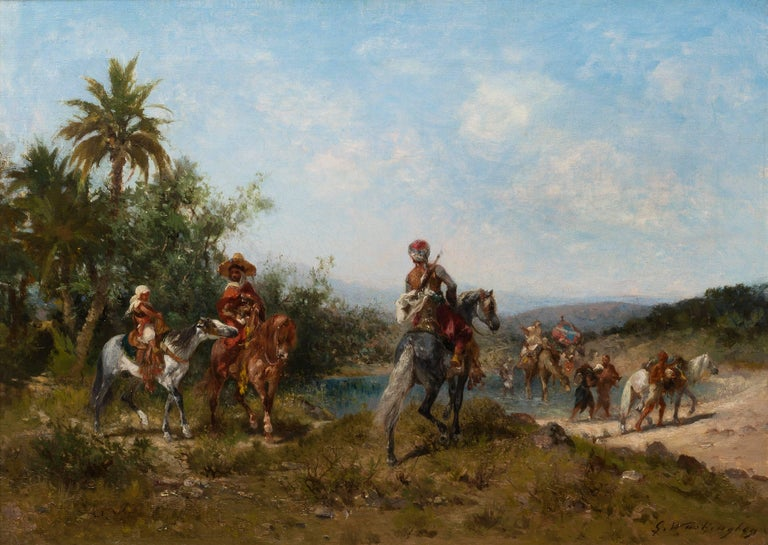 Le Voyage - Halte au bord de l'Oued (The Trip- A Break at the Banks of Oued) - Painting by Georges Washington