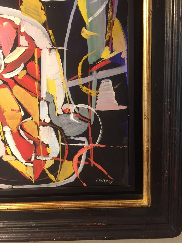 Composition Rouge sur fond Noir (Red composition on Black Background) - Painting by André Lanskoy