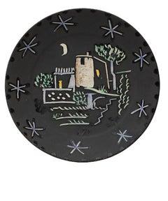 Paysage à la maison sous la lune et les étoiles