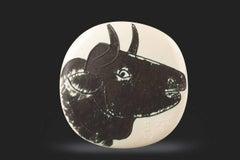 """Pablo Picasso Ceramic """"Profil de taureau"""""""