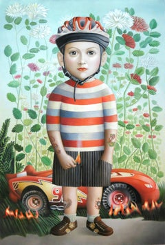 "Amy Hill: ""Boy With Car"", oil on canvas (framed) signed on reverse"