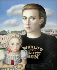 Mother and Baby, oil on canvas, Contemporary Folk Art painting