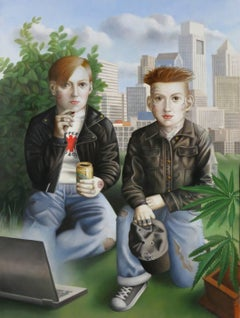 Two Boys, oil on canvas