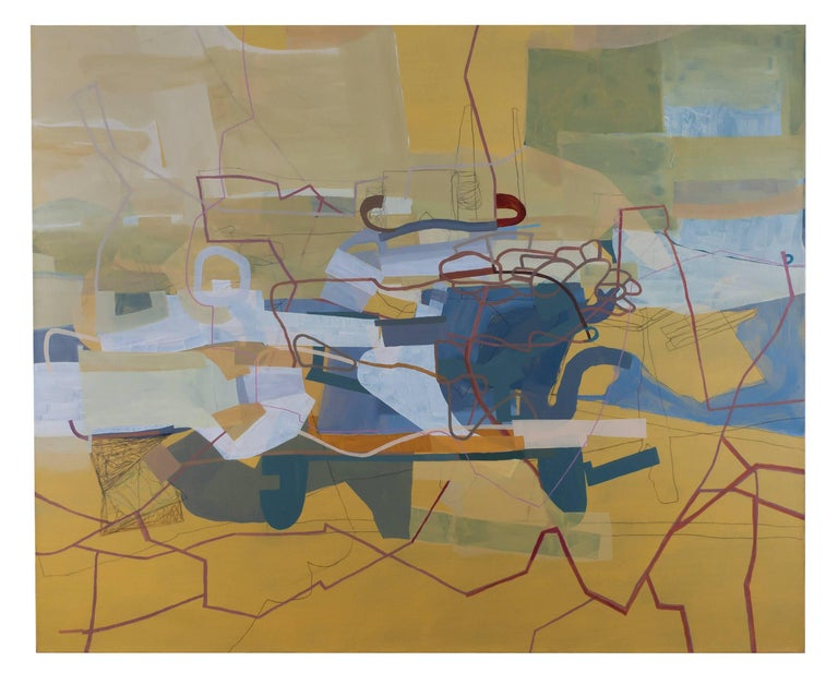 """40""""x 50"""" oil, graphite on linen painting, signed on reverse by artist  This large scale painting by Mark Masyga combines multilayered transparencies with bold golden yellow fields of color, scribed with earthy red line-work.  Cool geometries of"""