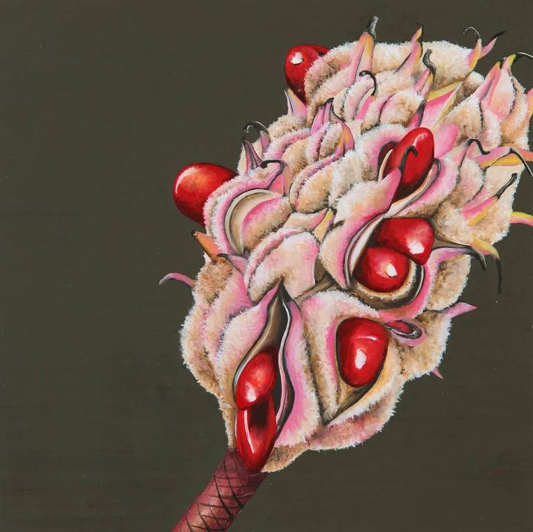 """6""""x6"""" oil on wood panel, framed  This highly detailed depiction of a Magnolia Seed Pod is masterfully painted on wood panel and is an excellent example from the artist's botanical series of paintings.    Emily Roz received a BA from Hampshire"""