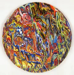 """""""Otherworld"""" Round Canvas, Abstract Drip Painting"""