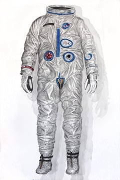 """Silver Suit"" (Early Gemini Spacesuit) large scale watercolor painting (framed)"