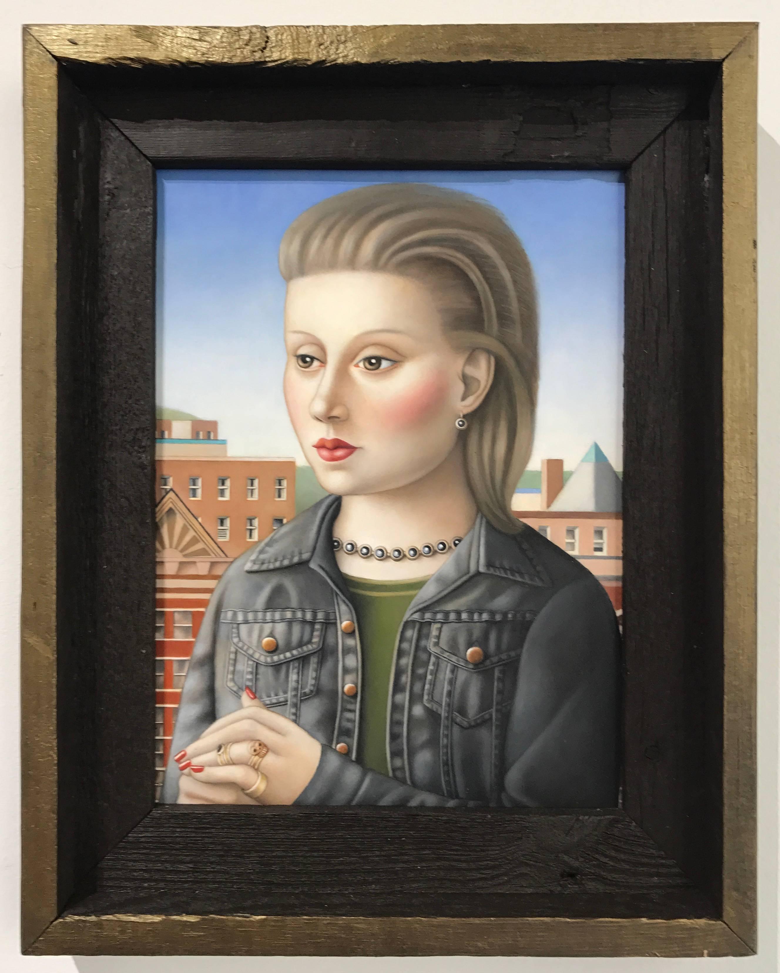 """""""Woman with Black Denim Jacket"""" Renaissance Style Portrait, oil on panel"""