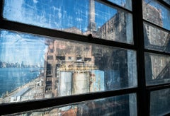 "Through Window, 40""X60"" photograph of Domino Sugar Refinery in Brooklyn"