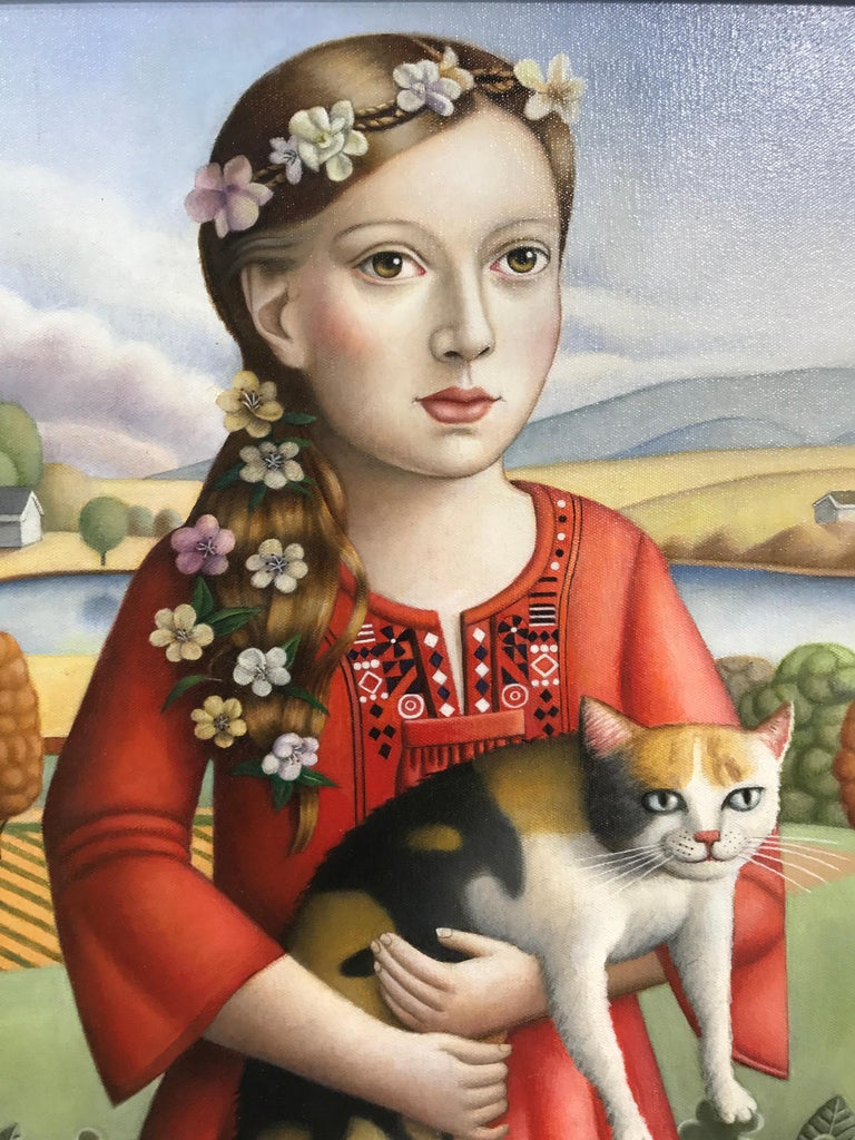 Amy Hill Portrait Painting - Young Woman with Cat