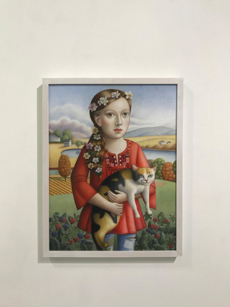 Young Woman with Cat - Painting by Amy Hill