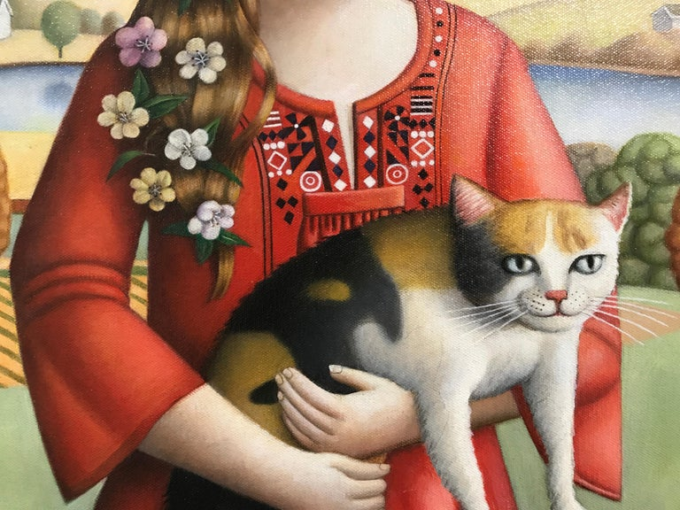 Young Woman with Cat - Contemporary Painting by Amy Hill