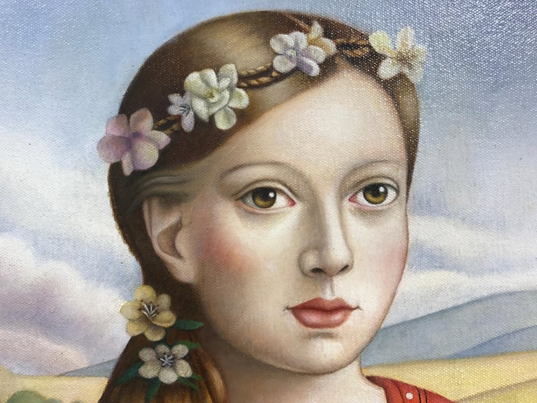 Young Woman with Cat - Beige Portrait Painting by Amy Hill