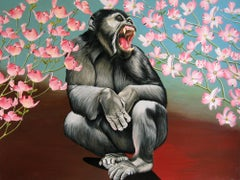 Crouching Chimp with Dogwoods